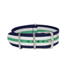 Navy Blue, White & Green Original NATO Strap Round