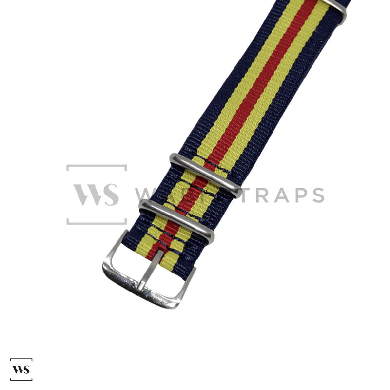 Navy Blue, Yellow & Red Original NATO Strap Round