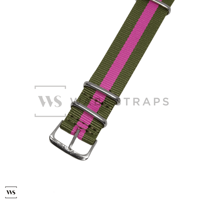 Olive Green & Pink Classic NATO Strap Round