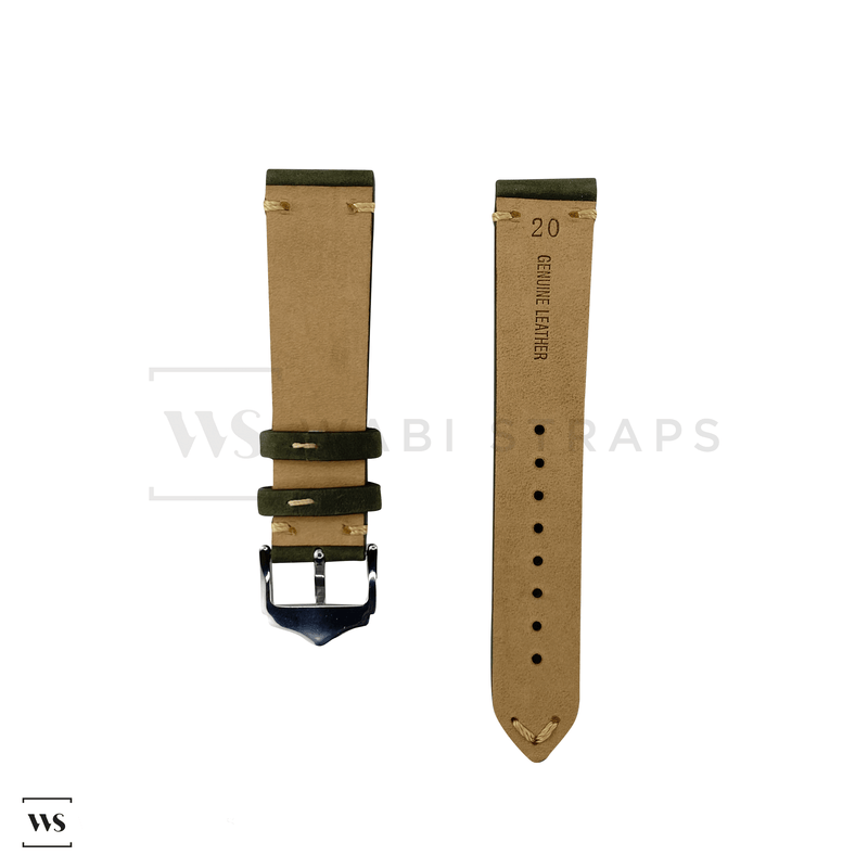Olive Green Vintage Leather Watch Strap Front