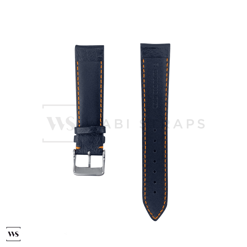 Orange Stitched Classic Black Leather Strap SS Front