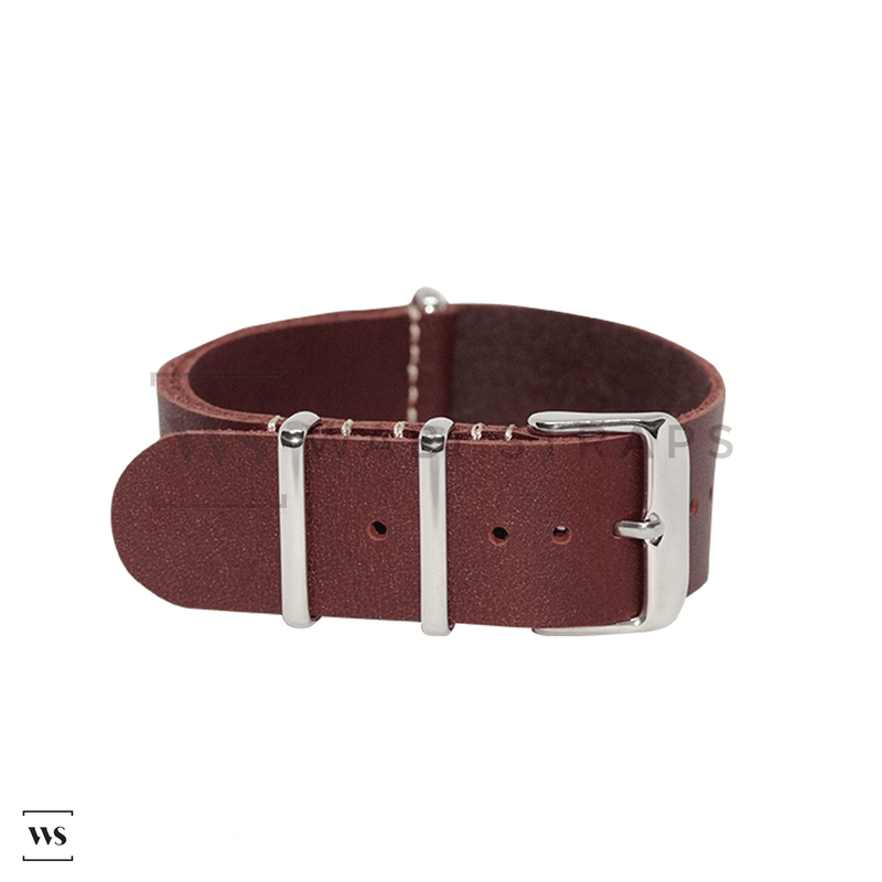 Mahogany Crazy Horse Leather NATO Strap Folded
