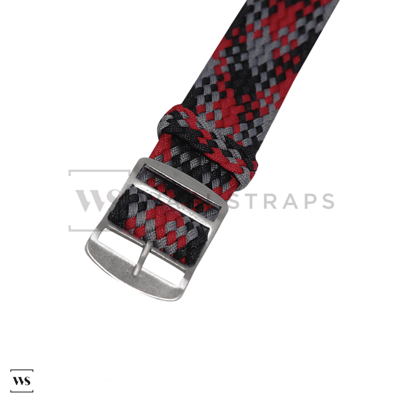 Red, Black & Grey Braided Perlon Strap Round