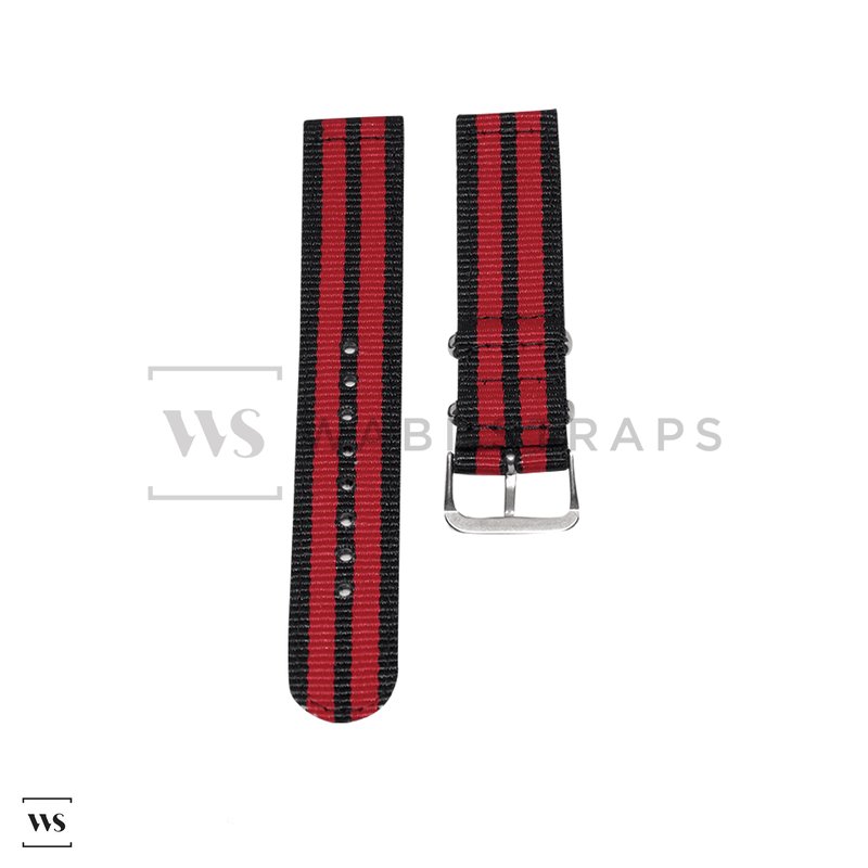 Red & Black Two Piece NATO Strap Front