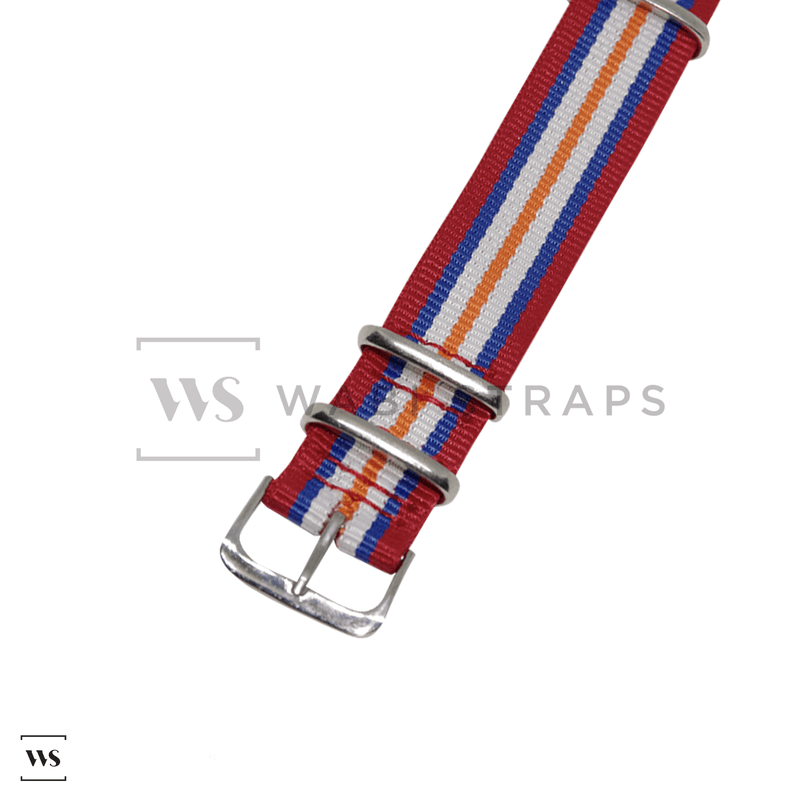 Red, Blue, White & Orange Racing NATO Strap Round