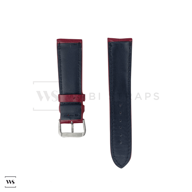 Red Crocodile Artisan Leather Strap Front