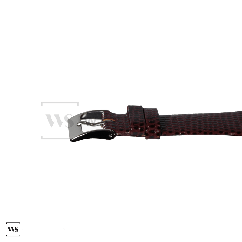 Red Lizard Leather Watch Strap Front