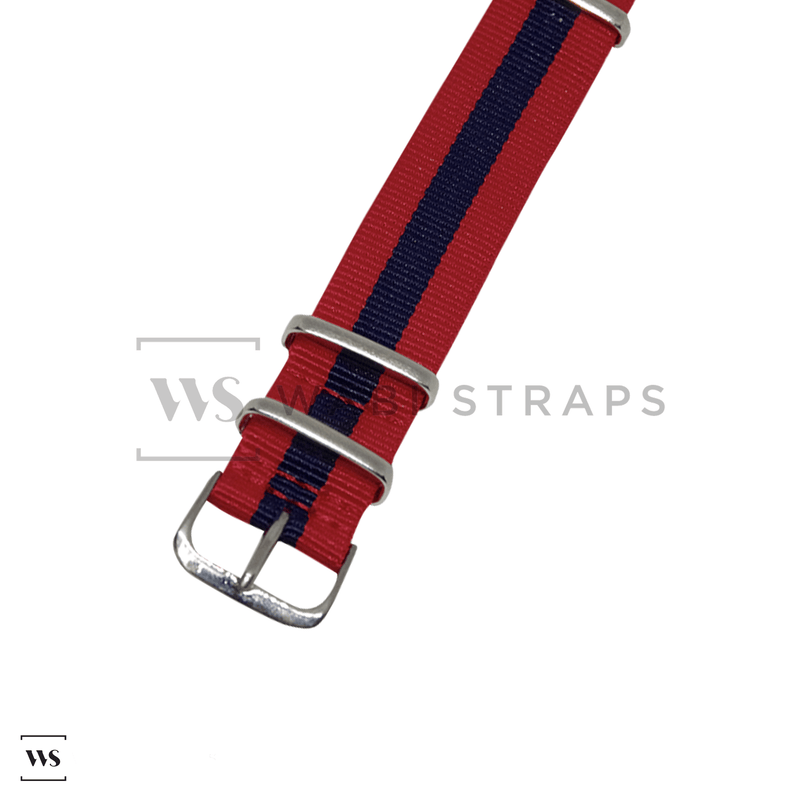 Red & Navy Blue Classic NATO Strap Round