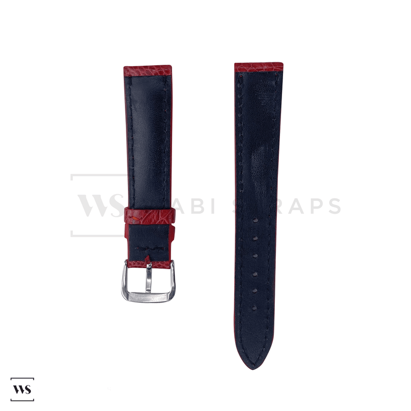 Red Ostrich Handcrafted Leather Strap Front