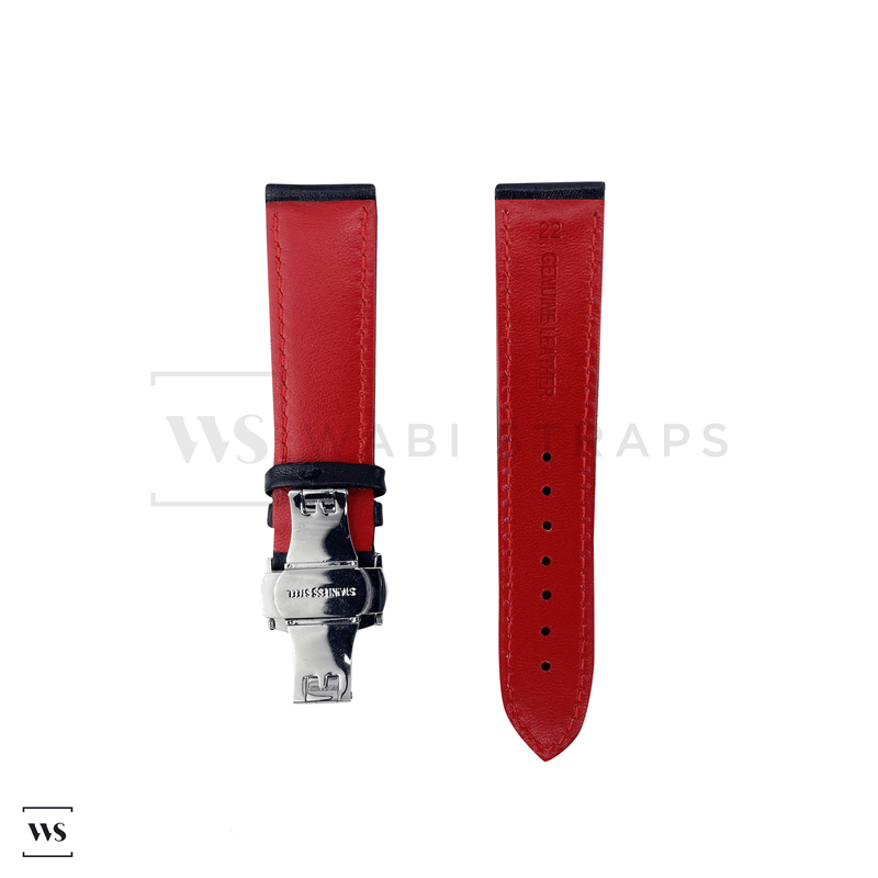 Red Perforated Rally Watch Strap SS Front