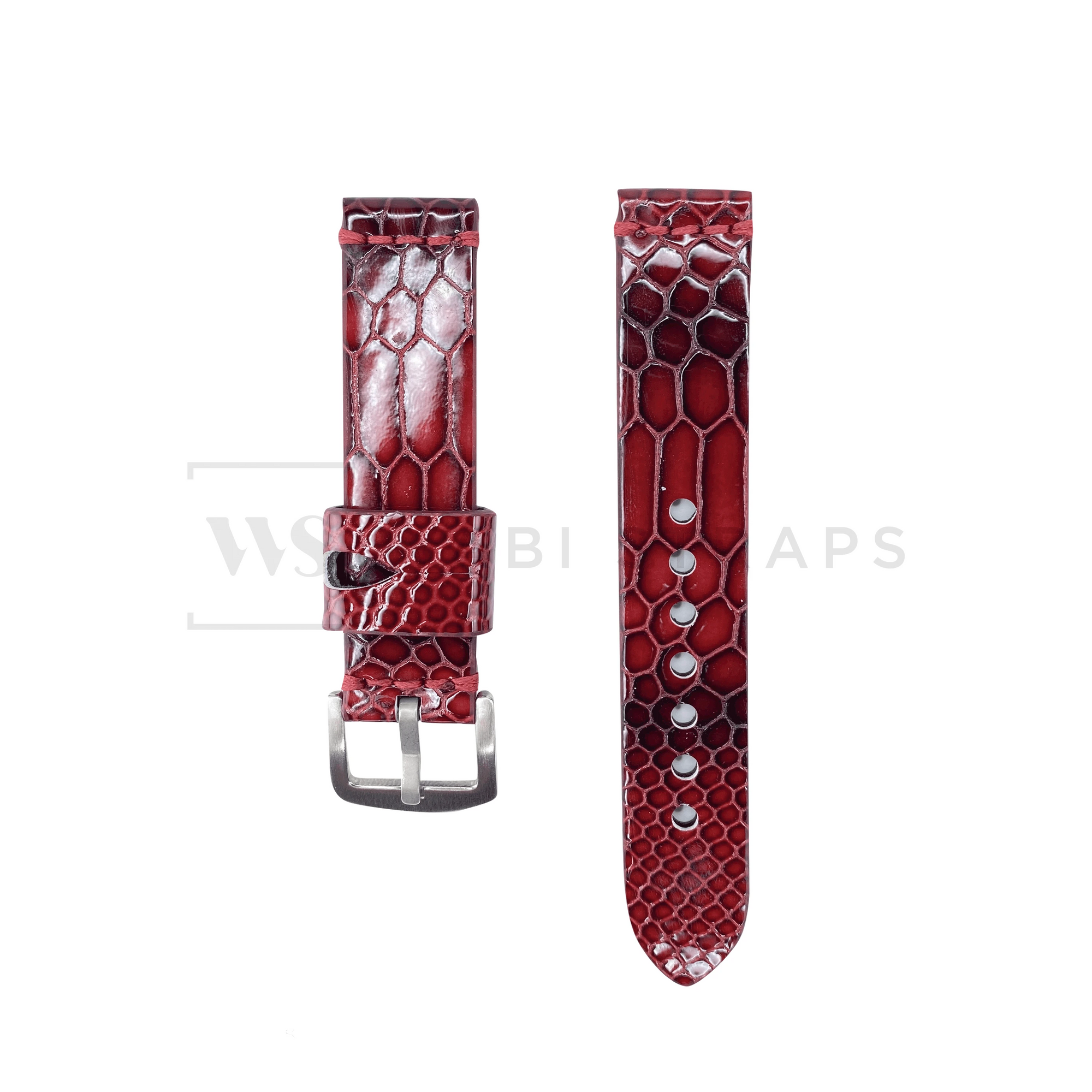Red Snake Rubber Watch Band Front
