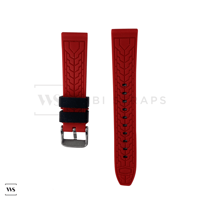 Red Trim Silicone Waterproof Strap Front