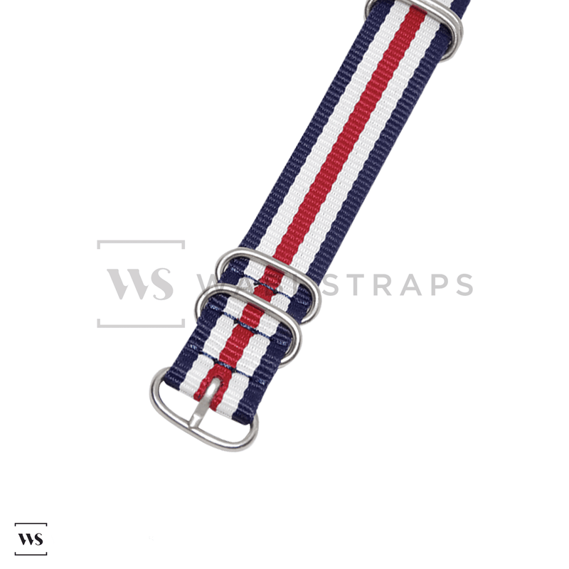 Red, White & Blue Striped ZULU Strap Round