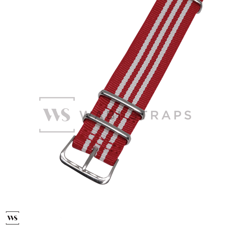 Red & White Striped Racing NATO Strap Round