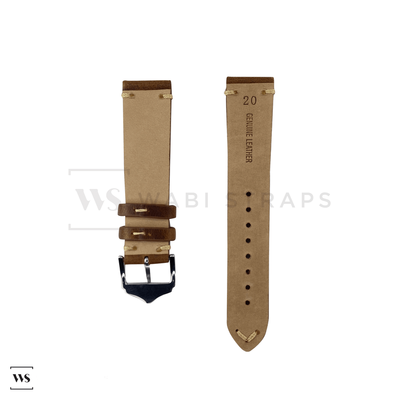 Tan Distressed Leather Watch Strap Front