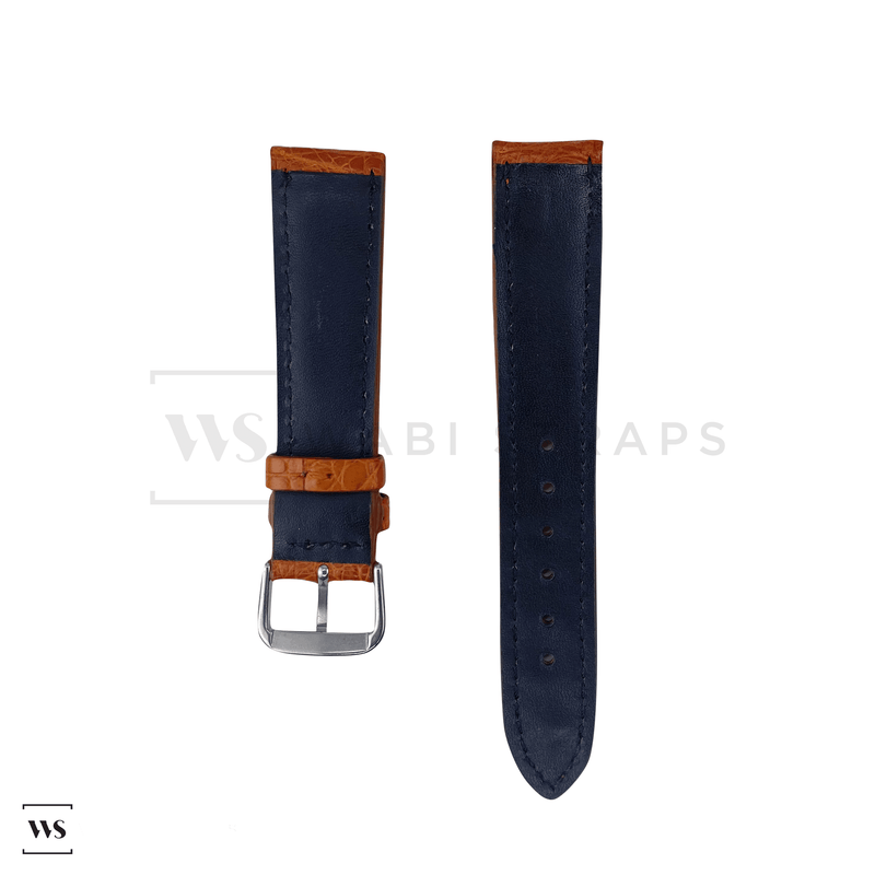 Tan Hornback Alligator Leather Strap Front