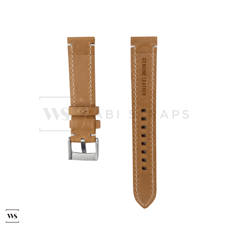 Tan Thick Leather Watch Strap Front