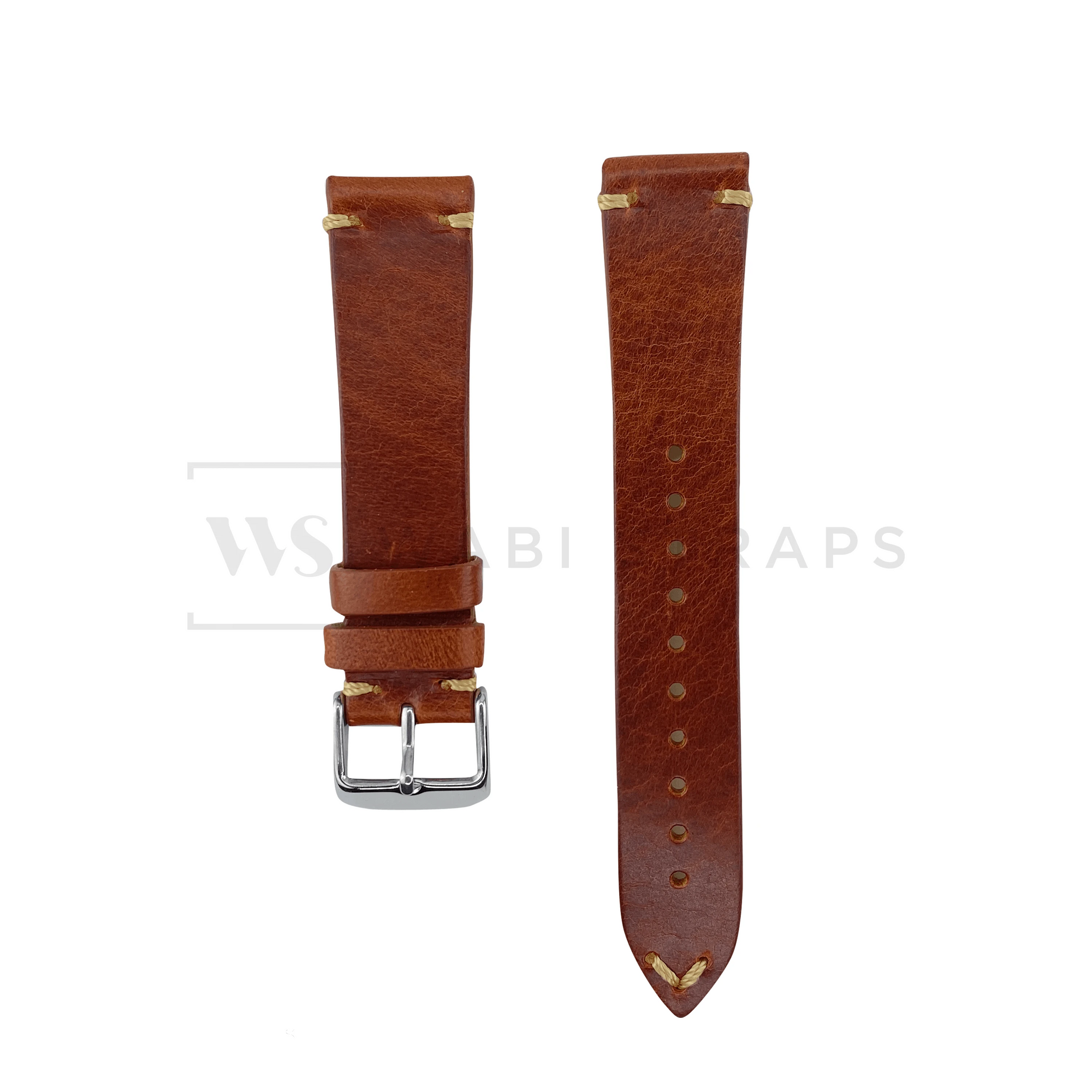 Tan Two Stitch Smooth Leather Strap Front
