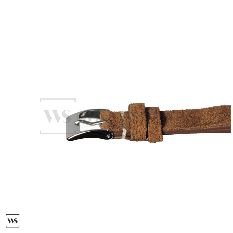 Tobacco Brown Velvet Watch Strap Front