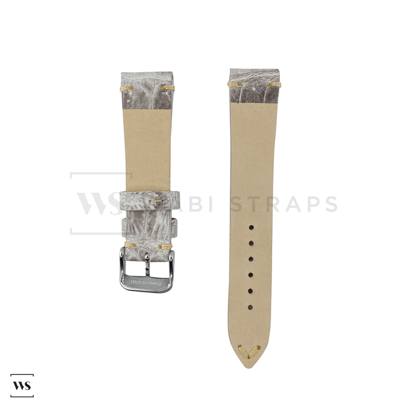 White Bamboo Vintage Leather Strap Front