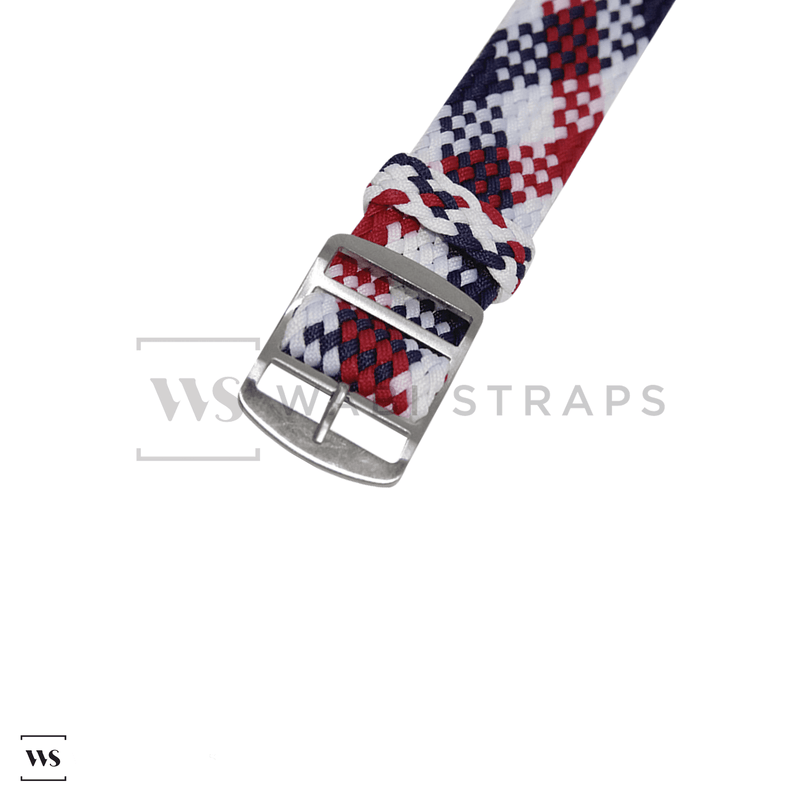 White, Red & Blue Braided Perlon Strap Round
