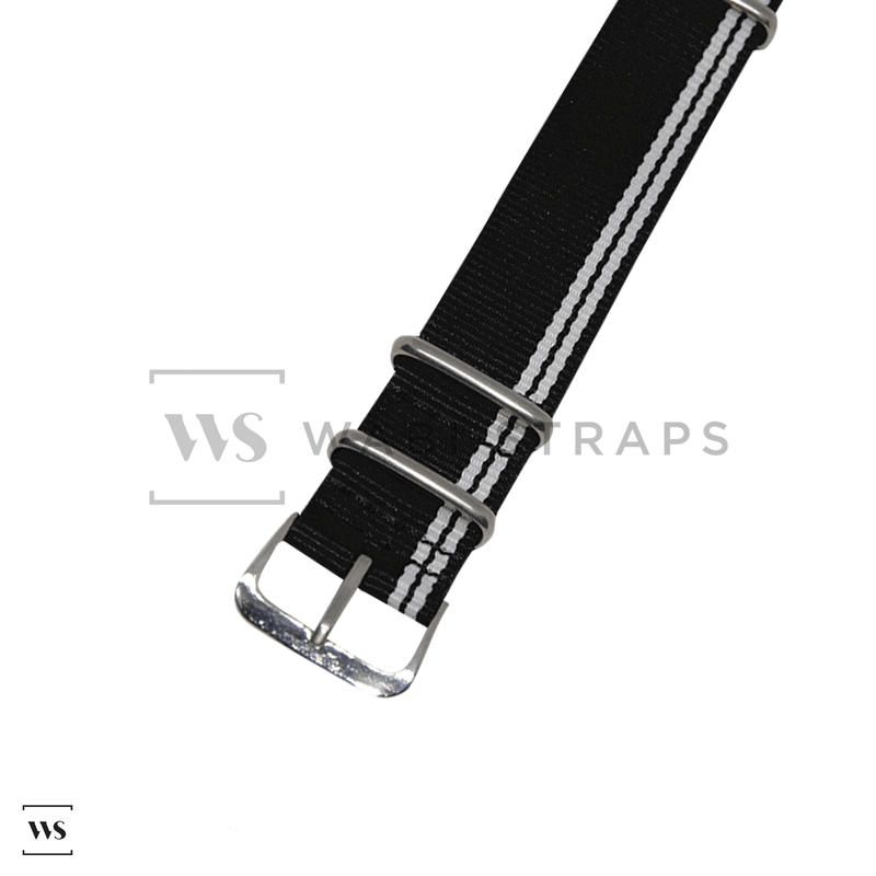 White Stripes on Black Ducati Special NATO Strap Round