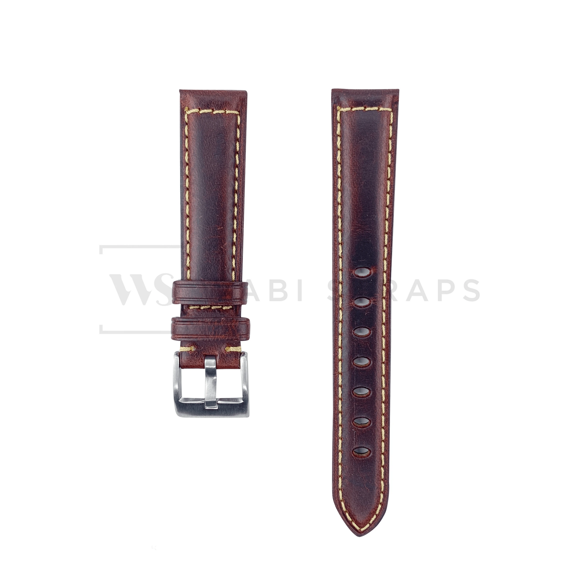 Wine Red Oxford Padded Leather Strap Front