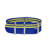 Yellow Stripes on Blue Ducati Special NATO Strap Round