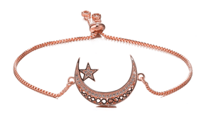 Adjustable Crescent Moon with Star Bracelet