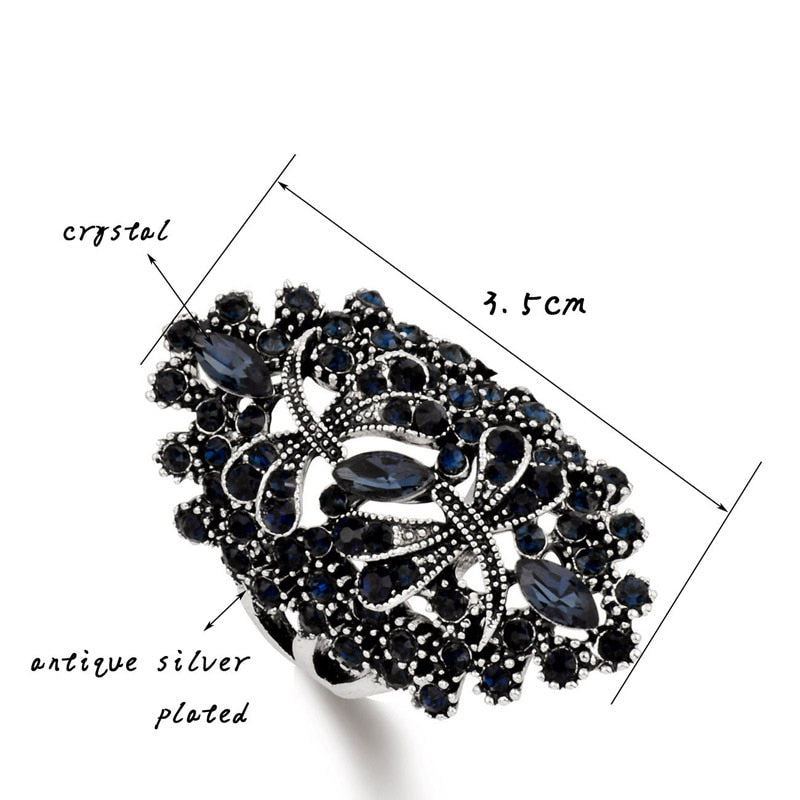 Antique Silver Plated Rhinestone Ring