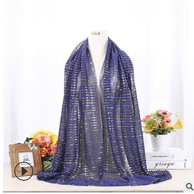 Fancy Chiffon Sequin Striped Hijab