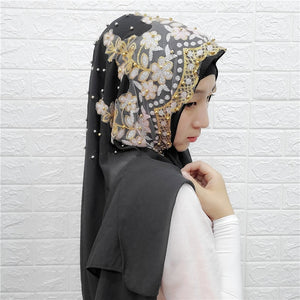 Embroidered Hijab with Pearls and Flowers