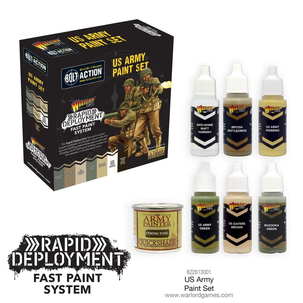 Bolt Action US Army Paint Set from Warlord Games - uses the Rapid Deployment painting technique