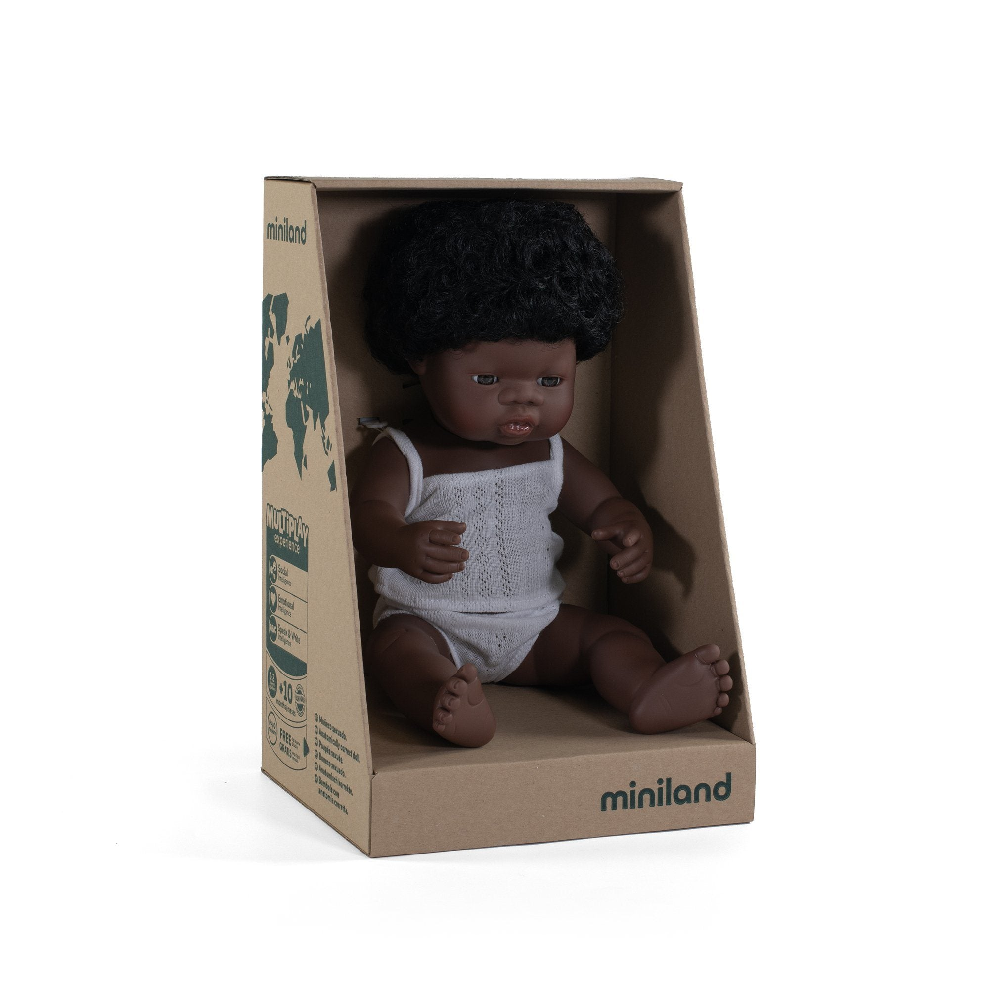Miniland - Anatomically Correct Baby Doll - African Girl 38cm Toys Miniland Educational