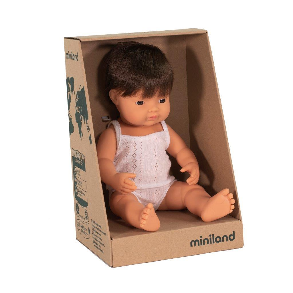 Miniland - Anatomically Correct Baby Doll - Caucasian Boy 38cm - Brunette Toys Miniland Educational