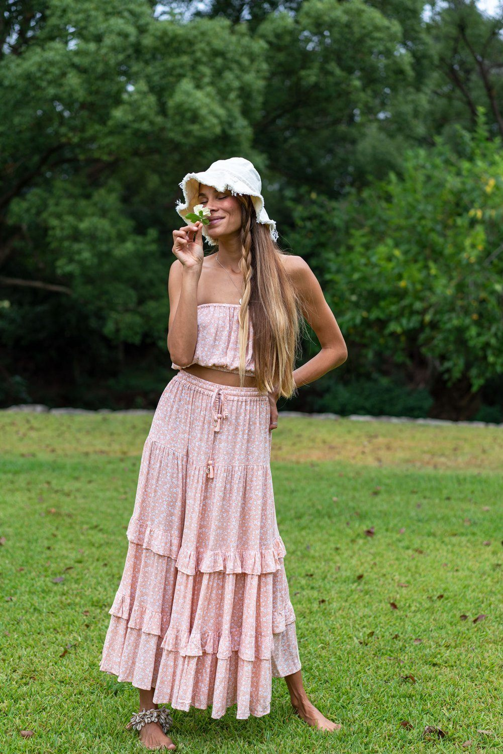 Barefoot Blonde - Maui Frill Maxi Skirt - Peach *** PRE ORDER / DUE LATE FEB *** Womens Barefoot Blonde