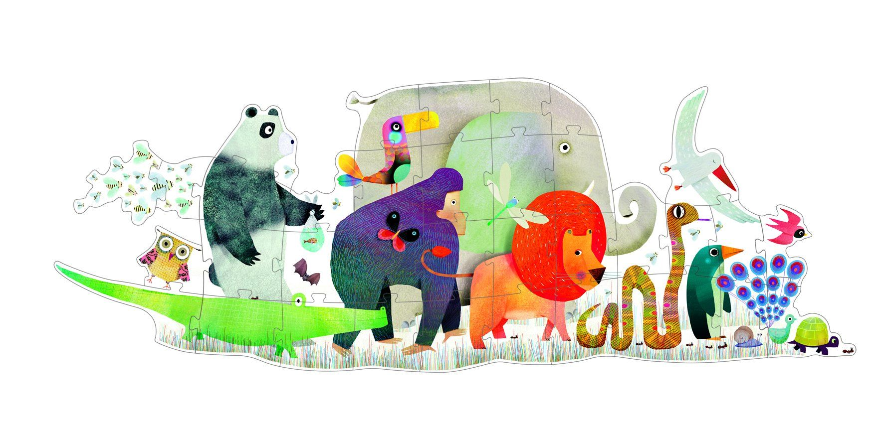 Djeco - Giant Puzzle - Animal Parade Gifts DJECO