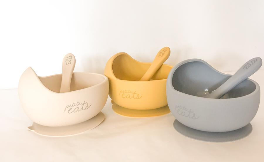 Petite Eats - Suction Bowl and Spoon - Mustard General Petite Eats