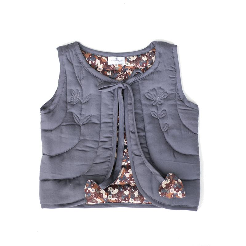 Burrow&Be - Quilted Vest - Ink/Flower Fields Baby Burrow&Be