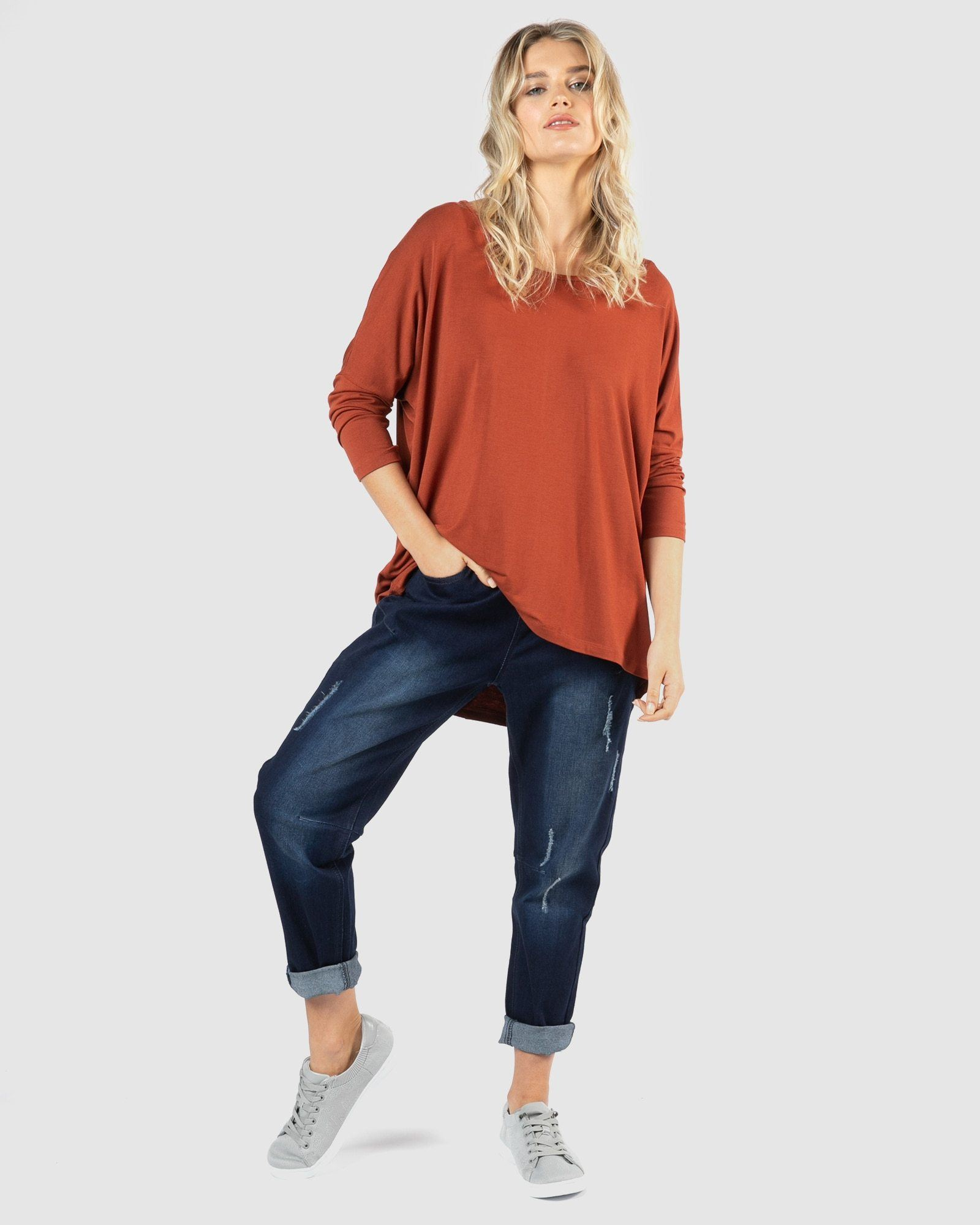 Betty Basics - Milan 3/4 Sleeve Top - Terracotta Womens Betty Basics