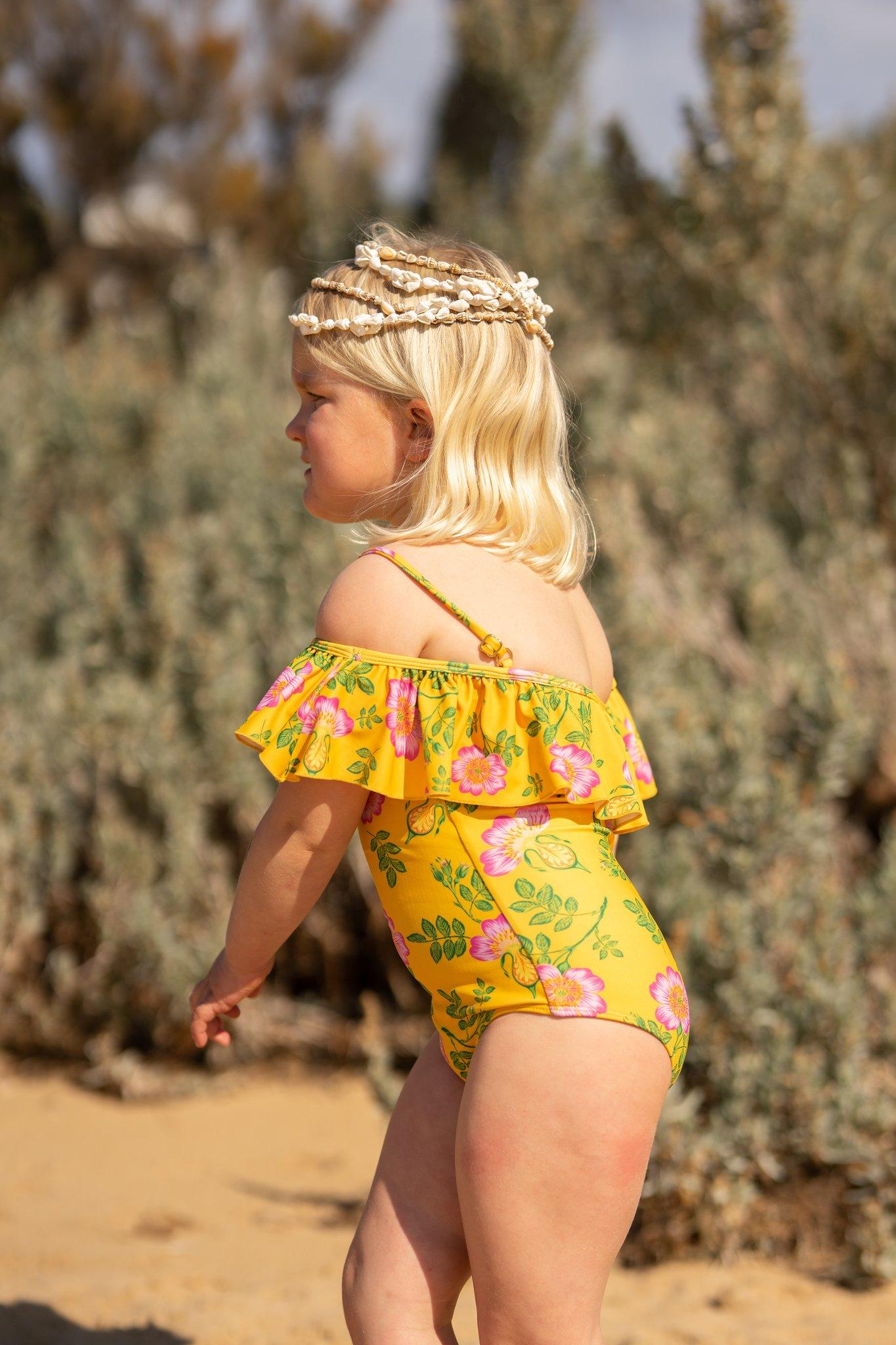 Coco and Ginger - One Piece Swimsuit with Frill - Yellow Dogwood Rose Girls Coco and Ginger