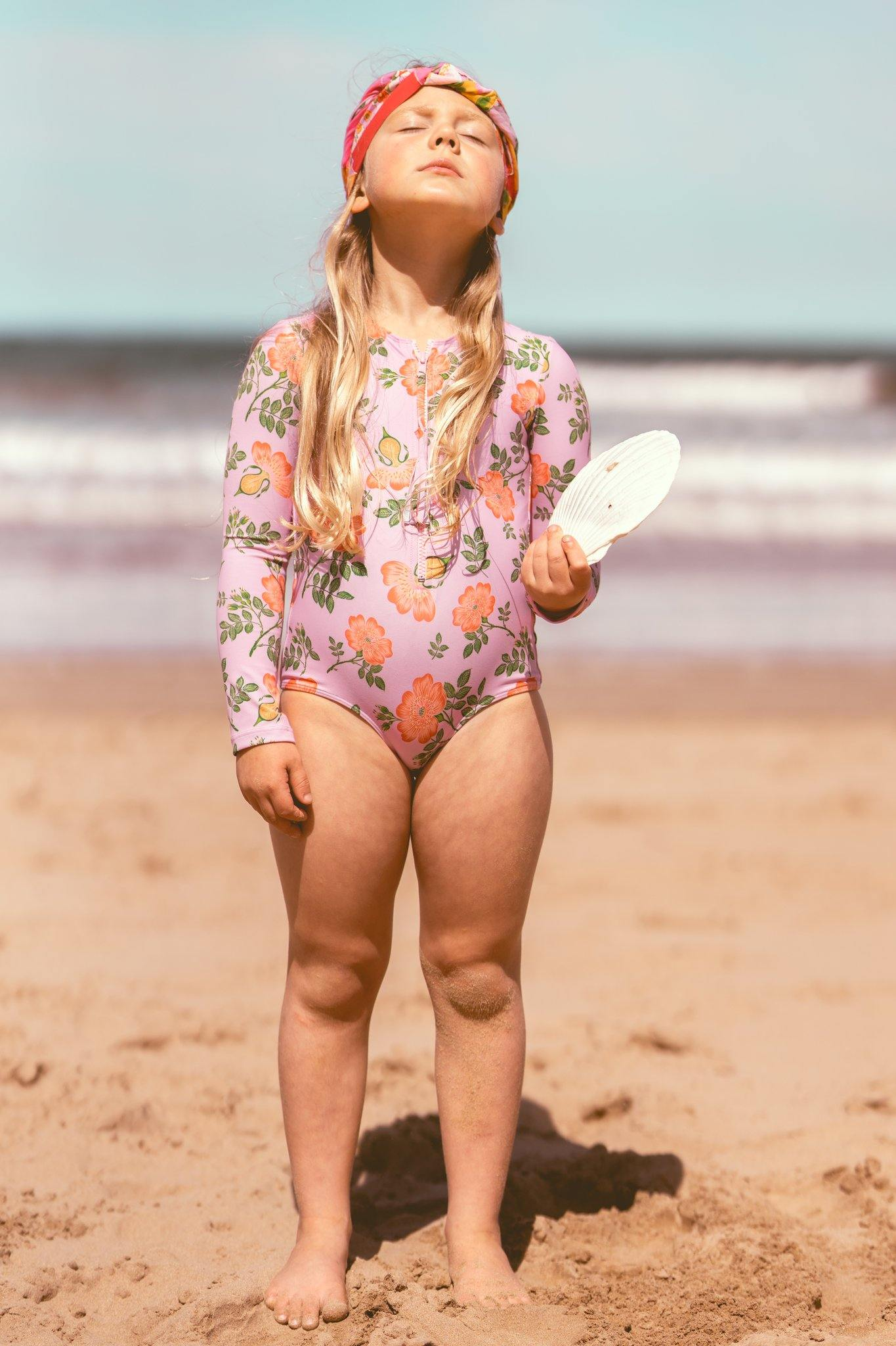 Coco and Ginger - One Piece Rash Vest Swimsuit - Sorbet Dogwood Rose Girls Coco and Ginger