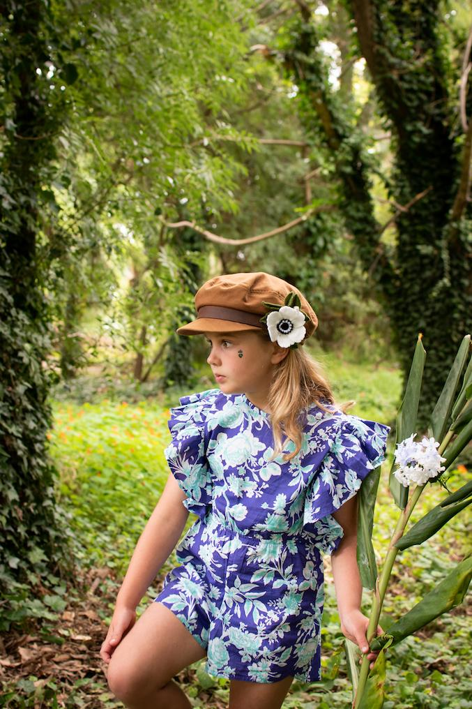 Coco and Ginger - Delphine Playsuit - Violet Harvest Flowers Girls Coco and Ginger