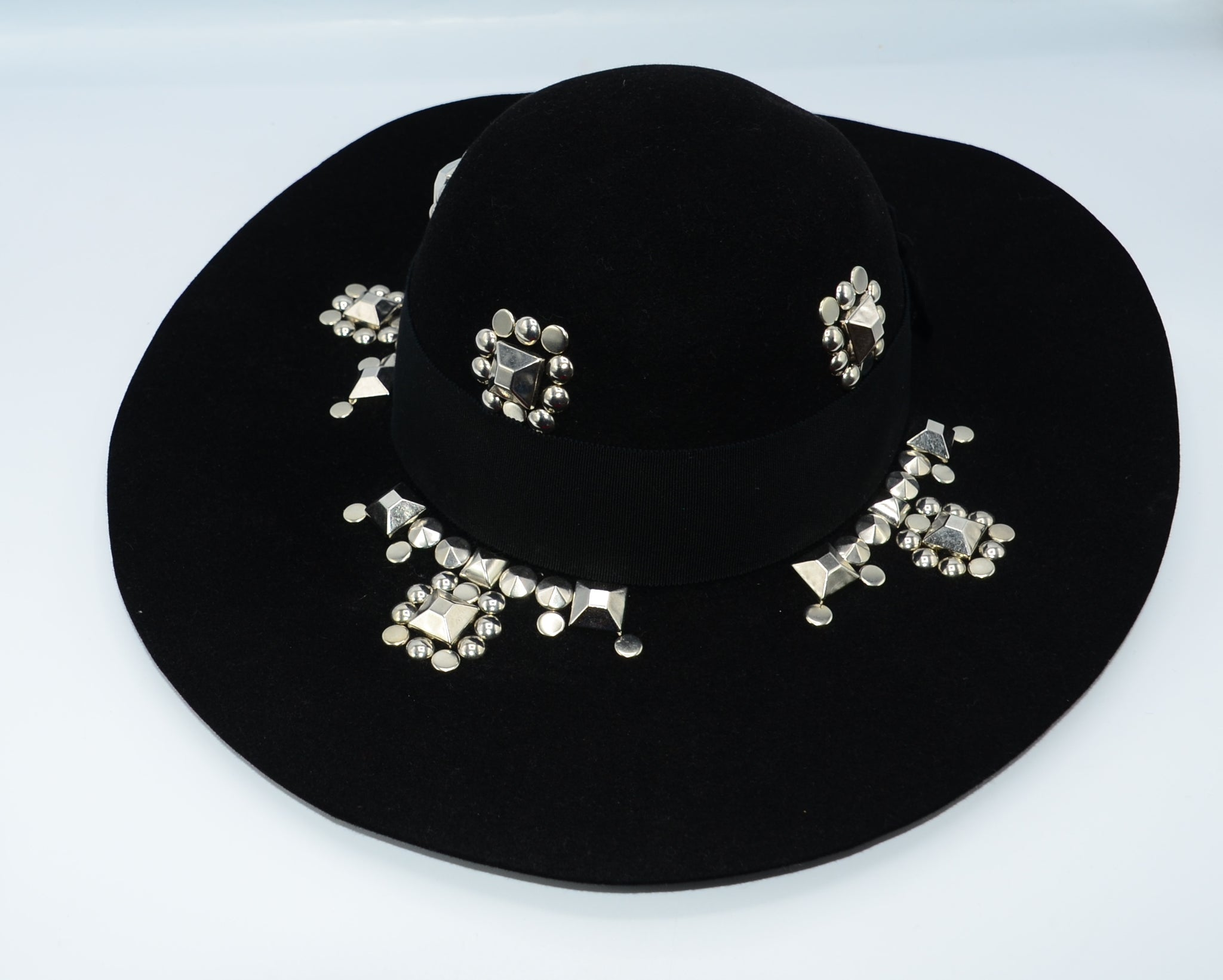 Saint Laurent Studded wide-brim Hat - Iconics Preloved Luxury