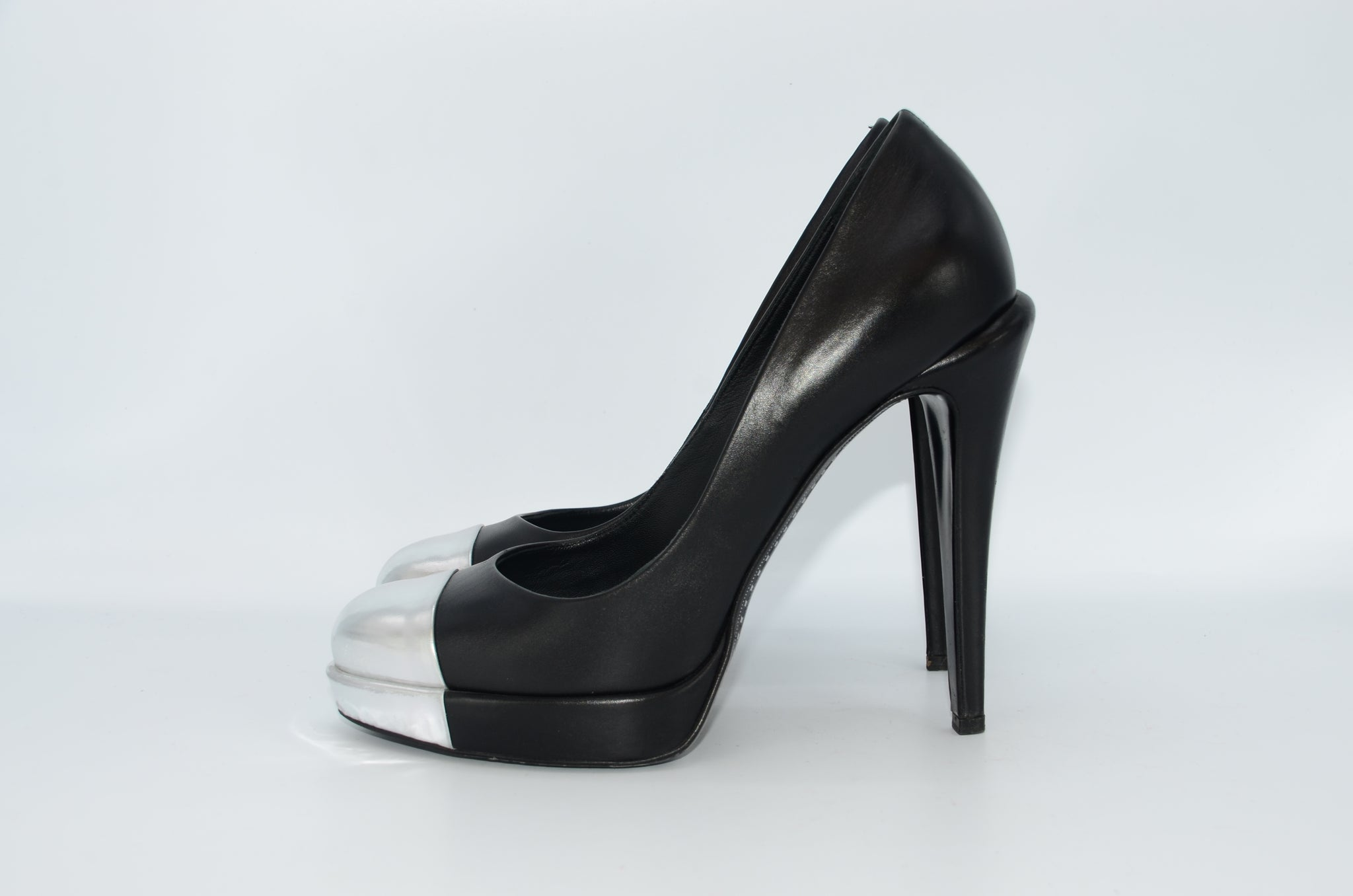 Chanel Cap Toe Platform Pumps