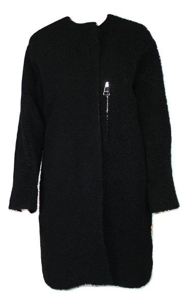 Balenciaga Black Mouton Shearling Coat