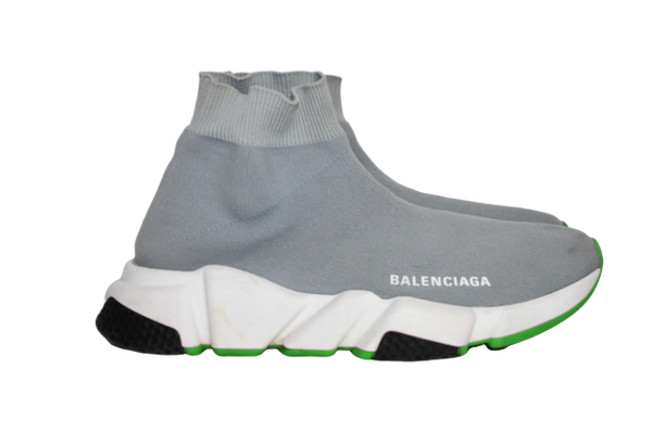 Balenciaga grey/green Speed Sneaker, 37 - Iconics Preloved Luxury