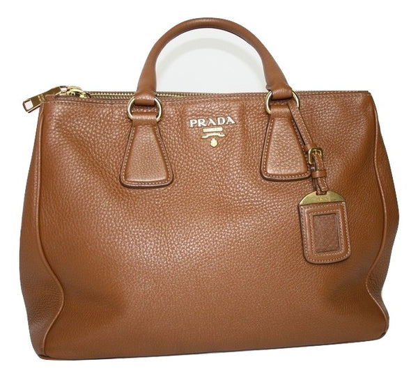 Prada Galleria Medium Camel Leather Bag - Iconics Preloved Luxury