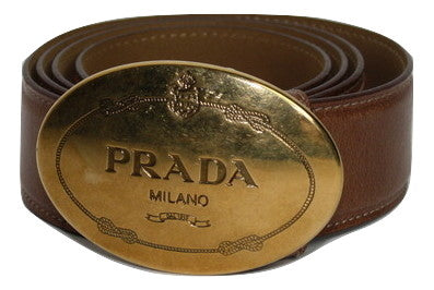 Prada Brown Saffiano Leather Belt - Iconics Preloved Luxury