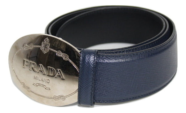 Prada Navy Blue Saffiano Leather Belt - Iconics Preloved Luxury